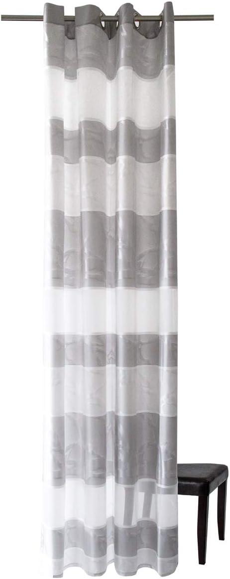 Größe 45 x 190 cm grau Kurzgardine mit Stickmuster