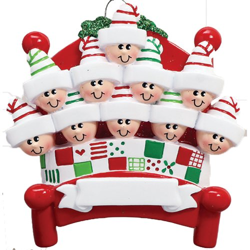 Personalized Bed Heads Family of 10 Christmas Ornament for Tree 2018 - Sleepyheads in Pattern Quilt Red Bedstead with Strip Sleep Hat Under Mistletoe - Friends Children - Free Customization (Ten)