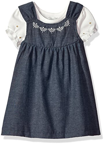 Rene Rofe Baby Baby Girls' Rear Snap Chambray Jumper with S/s Bodysuit, Hearts of Gold 12 Months ()