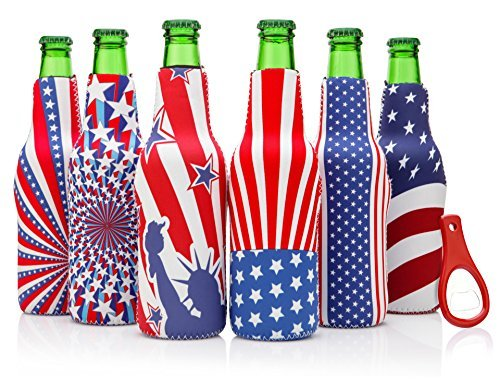 Beer Bottle sleeves - Set of 6 Zipper American Flag Theme Coolies - Extra Thick Neoprene - Fully stitched, Non-Glued Base - Bonus Bottle Opener - Trendy & Awesome Gift or Hosting Item #6USF ()