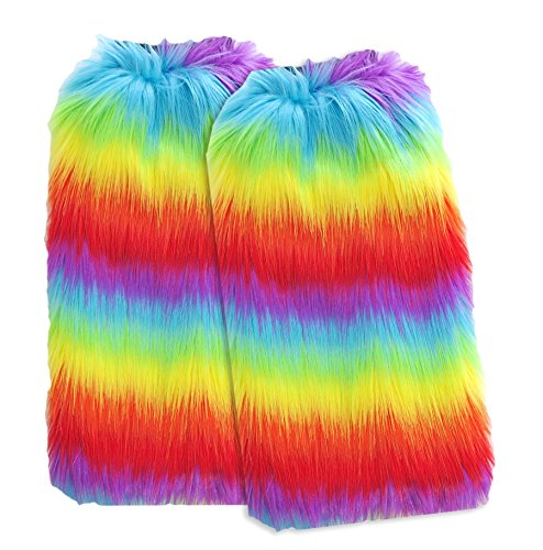 [Faux Fur furry fluffy super fuzzy for dance or boots socks leg warmer women rave and EDC costume by Secret Life] (Furry Rave Boots)