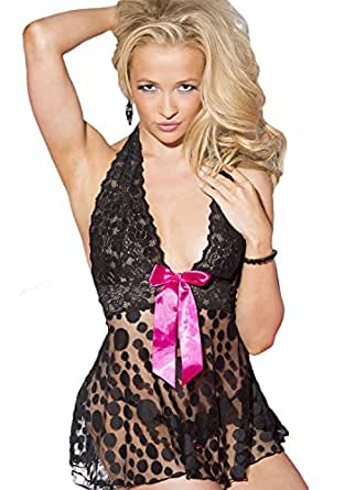 Shirley of Hollywood Women's Large Polka Dot Baby Doll, Black, One Size