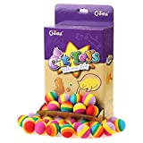 """Chiwava 60PCS 1.2"""" Foam Small Cat Toy Ball Rainbow Antenna Balls Kitten Activity Chase Toys Assorted Color"""