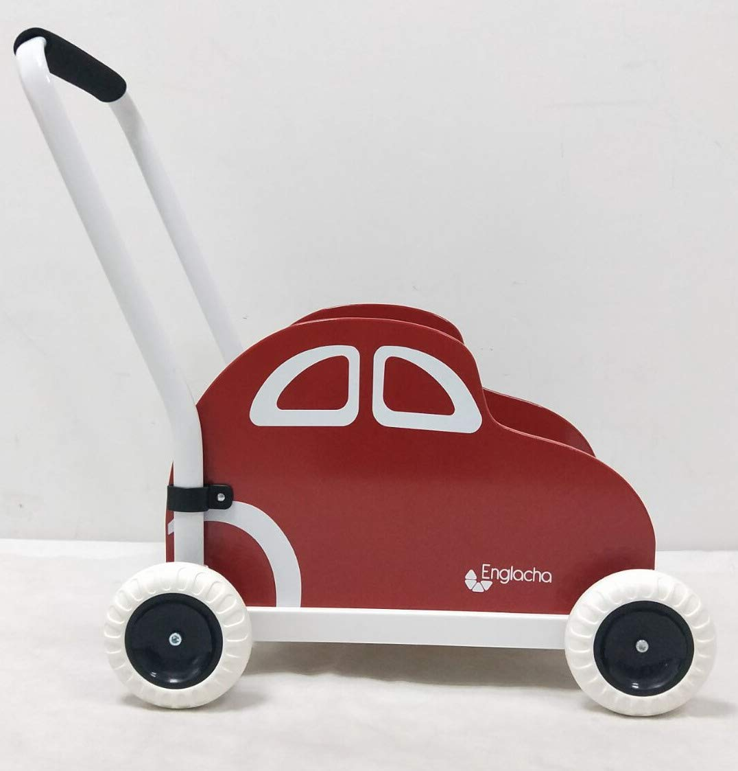 Englacha car Musical Toddler Walker, Baby Push Car with Built-in Musical Function and Speed Reduction Wheels, Red/White