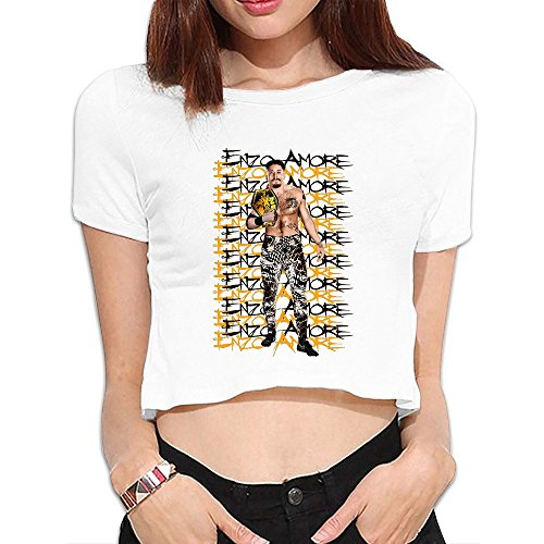 Enzo Amore Eric Arndt 2016 Poster Women's White Crop Tops Outfits T Shirts