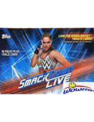 2019 Topps WWE SMACKDOWN LIVE! EXCLUSIVE Factory Sealed Retail Box with RELIC Card! Look for Cards & Autographs of WWE Superstars Triple H, Ronda Rousey, Kevin Owens, Alexa Bliss & Many More! WOWZZER!