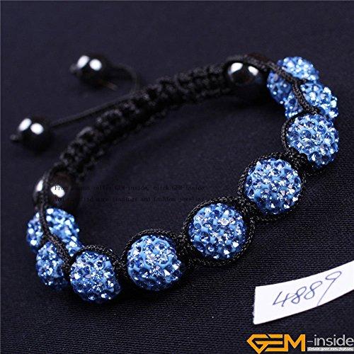 GEM-inside Light Blue Women Girl Pave Shine Crystal Beads Hand-Woven Bracelet Adjustable