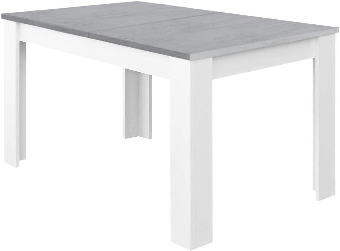 Habitdesign Mesa de Comedor Extensible, Mesa salón o Cocina, Acabado en Color Blanco Artik y Gris Cemento, Modelo Kendra, Medidas: 140-190 cm (Largo) x 90 cm (Ancho) x 78 cm (Alto)
