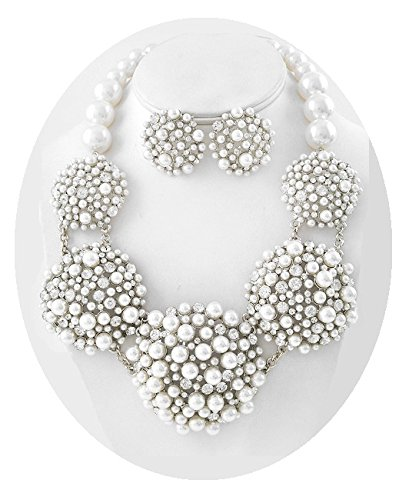 White Pearl Statement Necklace Set Elegant Fashion Jewelry Boxed (#156) (silver-plated-base) by Shoppe23 (Image #4)