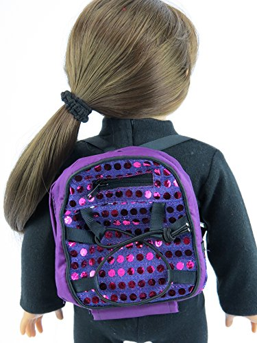 Purple Sequin Backpack Inch Clothes