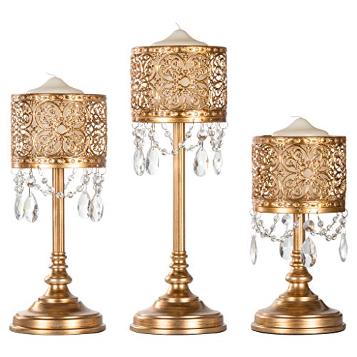 3 Holder Set Piece - Amalfi Décor Victoria 3-Piece Antique Gold Hurricane Candle Holder Set with Crystals, Metal Pillar Wedding Accent Stand
