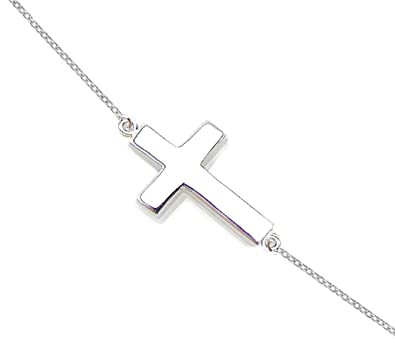 Amazon silver sideways cross pendant necklace 925 sterling silver sideways cross pendant necklace 925 sterling silver womens 16quot 18quot anti aloadofball Images