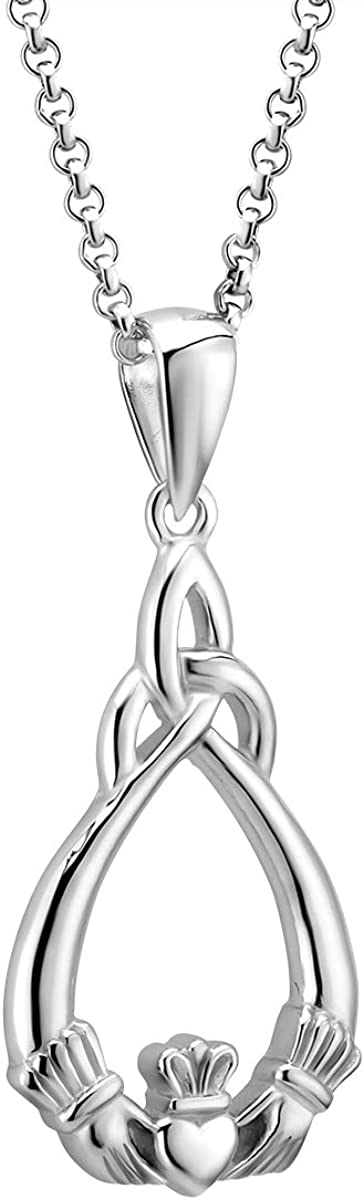 """Irish Claddagh Necklace Sterling Silver Hallmarked at Irish Assay Office in Dublin Castle Available In 18"""", 20"""" and 24"""" Lengths with 2"""" Extension Chain & Easy to Use Lobster Clasp Made in Ireland"""