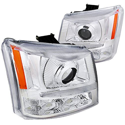 Silverado 1 Piece Headlight (Spec-D Tuning 2LHP-SIV03-ABM Chrome Projector Headlight (Halo Led 1 Piece))