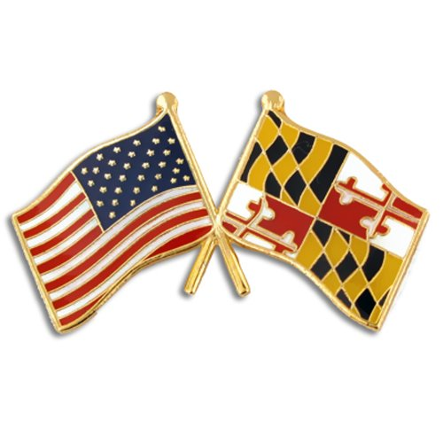 (PinMart Maryland and USA Crossed Friendship Flag Enamel Lapel Pin)