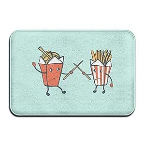 Anuoge Funny Food Noodles Vs. Fries Non-Skid Door Mat 60x40cm