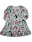 Sara's Prints - Little Girls Puffed Long Sleeve Winter Penguins Nightgown, Light Green 38001-3