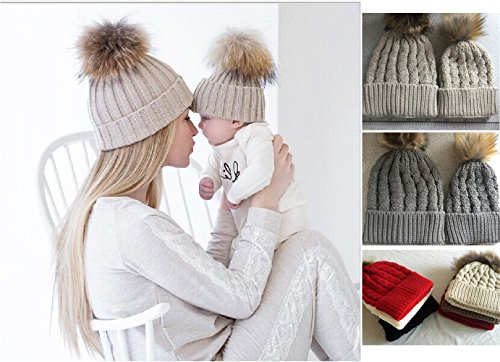 [2PCS Parent-child Hat Warmer ,Comwinn Mother & Baby Daughter/Son Winter Warm Knit Hat Family Crochet Fur Wool Beanie Ski Cap] (Mother And Infant Daughter Costumes)