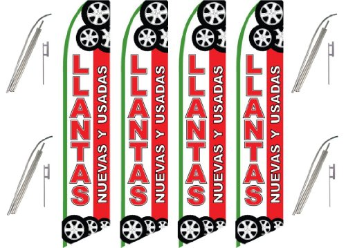 four-4-pack-swooper-flags-pole-kits-llantas-tires-nuevas-y-usadas