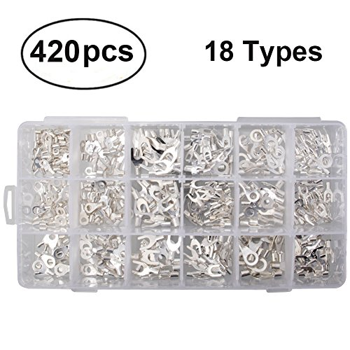 Fork Spade - 430pcs 18 Types Non-Insulated Crimp Connectors, Premium Ring/Fork U-type Female Terminals Assortment Kit, Best Cable Wire Connector, Spade Electric Wire Terminals with Storage Case for DIY by MILAPEAK