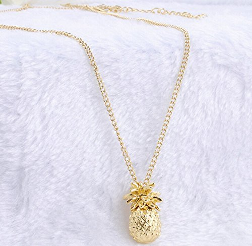 Fashion Women Ladies Jewelry Gold Plated Pineapple Pendant Long Chain Necklace (Thailand Costume Jewelry)