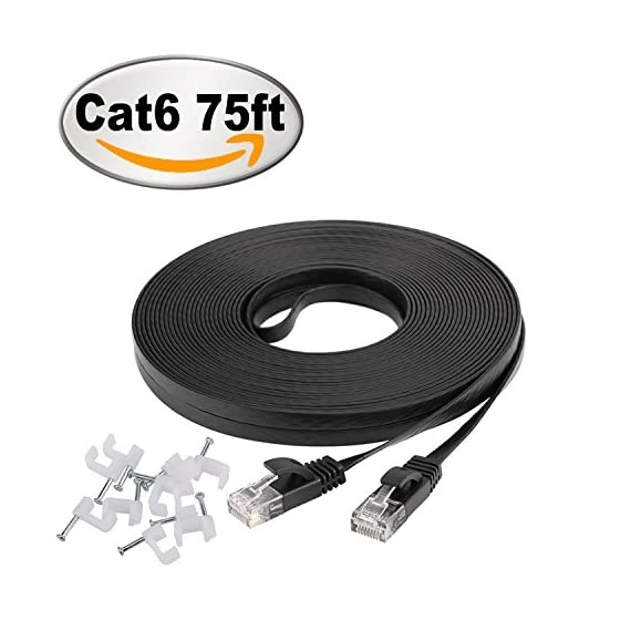 Cat 6 Ethernet Cable 75 ft, Long flat Internet Network Lan patch cord, faster than Cat5e/Cat5, Solid Cat6 High Speed Computer RJ45 Wire for Modem, Router, PS4, Xbox, Switch, Camera, TV box, Hub,Black 1 Bundled with the 20 cable clips, so no need to buy them elsewhere High Performance Cat6,30 AWG,UL Listed,RJ45 Ethernet Patch Cable provides universal connectivity for LAN network components such as PCs,computer servers,printers,routers,switch boxes,network media players,NAS,VoIP phones Cat 6 standard provides performance of up to 250 MHz and is suitable for 10BASE-T,100BASE-TX(Fast Ethernet),1000BASE-T/1000BASE-TX(Gigabit Ethernet)and 10GBASE-T(10-Gigabit Ethernet)