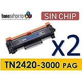 TonerAhorro - Pack 2 Toner Compatible con Cartucho Tn2420 / Tn2410 (2 x 3.000 paginas) SIN Chip Garantía de por Vida