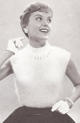 Vintage Knitting PATTERN to make - Angora Shell Sweater Mock Turtleneck Top. NOT a finished item. This is a pattern and/or instructions to make the item only. ()