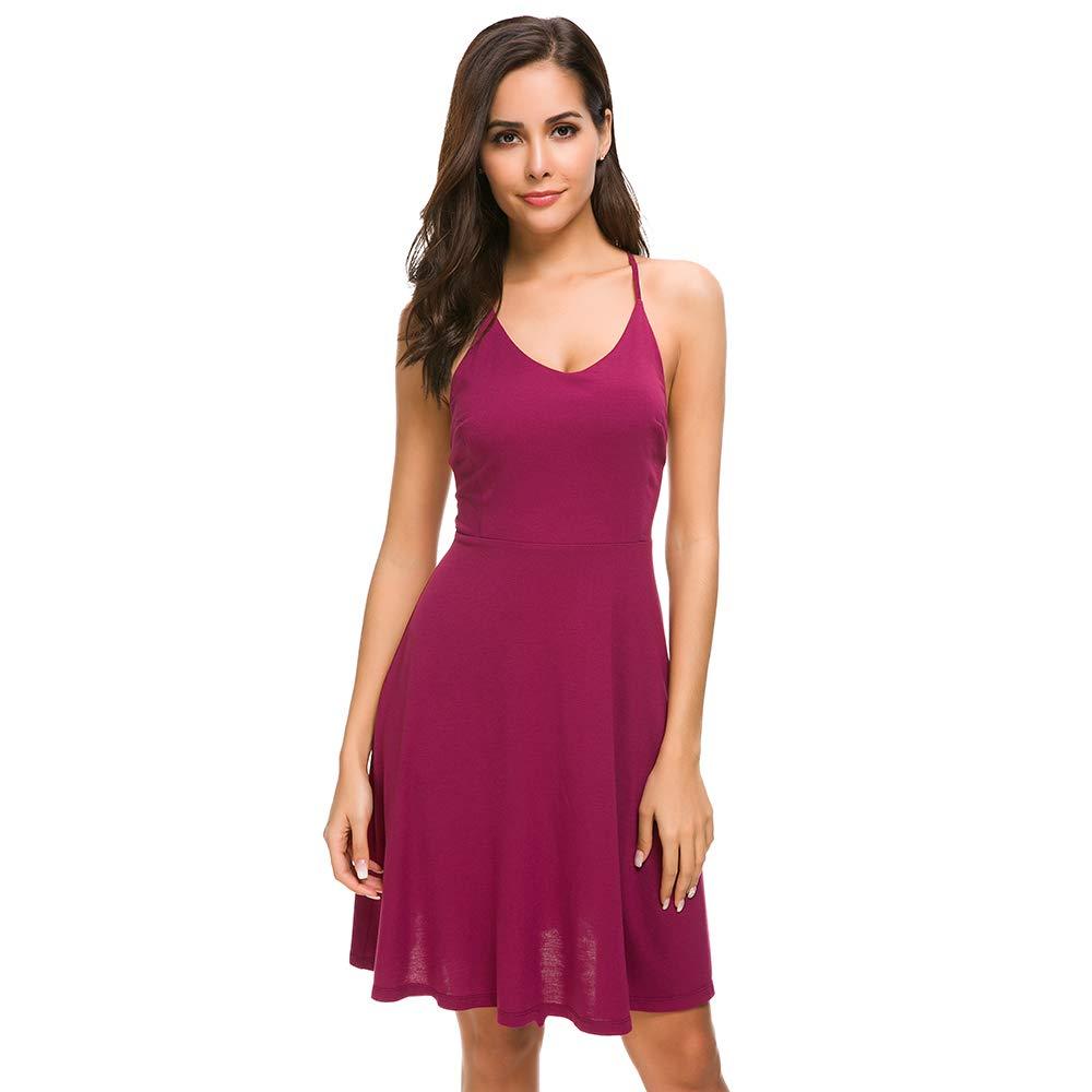 Unifizz Women's Adjustable Spaghetti Straps Backless Aline Party Dress