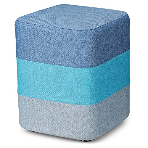 (COQOFA DIY Soft Ottoman Foot Rest Stool Square Linen Fabric Sofa Stool Small Seat Modern Furniture with Washable Cover and Memory Foam for Bedroom and Living Room Assembly Required 200 lbs Heavy Duty)