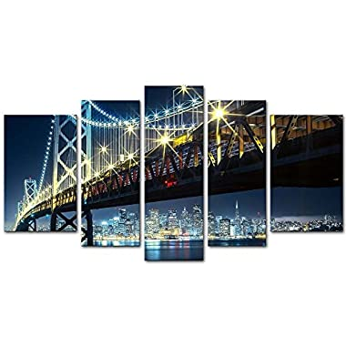 5 Pieces Modern Canvas Painting Wall Art The Picture For Home Decoration Oakland Bay Bridge With San Francisco In The Backgroung Night Bridge Landscape Print On Canvas Giclee Artwork For Wall Decor
