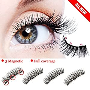 Magnetic Eyelashes, Premium Quality Triple Magnetic False Eyelashes Set for Natural Look , 3D Reusable Fake Lashes,No Glue (3 Magnets 1 Pair / 4 Pieces)