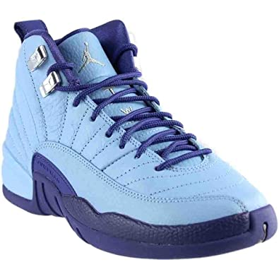 cheaper 9a52d 5f82e Nike Girls Air Jordan 12 Retro GG Purple Dust Blue Cap Silver Size 5Y