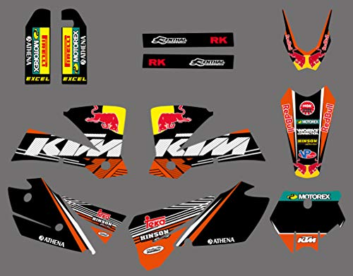 DST0610 Custom Red bull Graphic kit Motorcross Stickers Dirt Bike Decals for SX 125 200 250 300 450 525 2003 2004 -