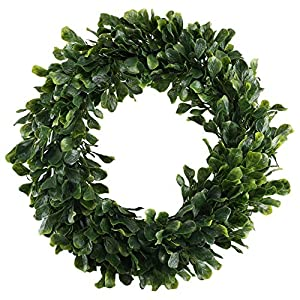 "NAHUAA Artificial Boxwood Wreath, 16"" Faux Greenery Wreath for Front Door Farmhouse Spring Home Office Housewarming Gift Easter Decorations 8"