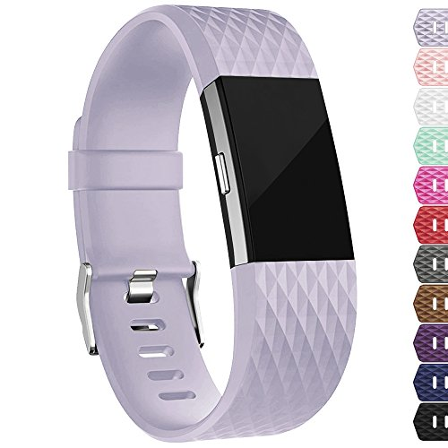 iGK For Fitbit Charge 2 Bands, Adjustable Replacement Bands with Metal Clasp for Fitbit Charge 2 Wristbands Special Edition Lavender Small