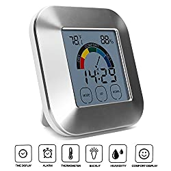 Yesurprise Digital Hygrometer Indoor Thermometer Humidity Meter Monitor Temperature Gauge Alarm Clock Smart Timer with Touchscreen, Backlight and Table Standing