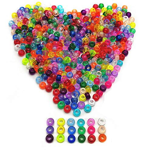 Mixed Pony Beads - Amaney 500 Pieces 6x9mm 18 Mixed Colors Transparent Mix Plastic Pony Beads
