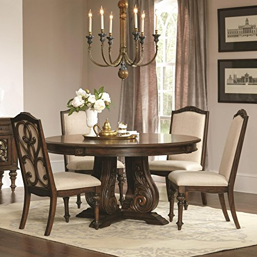 Coaster Home Furnishings Ilana 5-Piece Round Pedestal Table Dining Set Antique Java For Sale