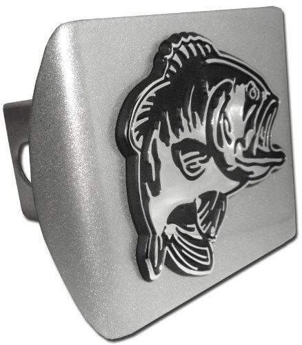 Elektroplate Bass Fish ALL METAL Brushed Chrome Hitch Cover