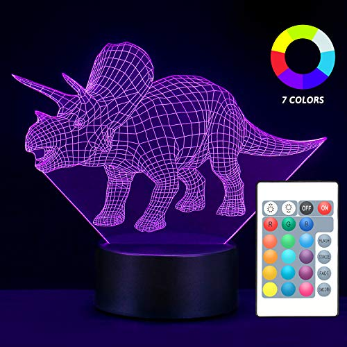 MOBIUS Toys Nightlight for Kids, 7 Different LED Colors Dinosaur 3D Night Light for Kids, Bedside Triceratops Lamp with Remote Control & USB, Birthday Gifts for Boys Girls Kids Baby (Giftbox)