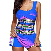 Clearance Sale Women's Tankini Sets Plus Size,Rainbow Swimdress and Boy Shorts Swimwear Swimsuit