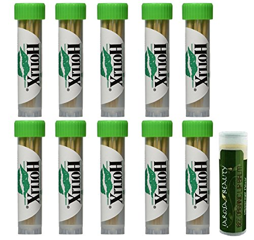 HOTLIX TOOTHPIX Mint Toothpicks .16 oz (14-16 stix per tube) Gift Set - 10 Tubes with a Jarosa Bee Organic Peppermint Lip Balm by Jarosa Gifts
