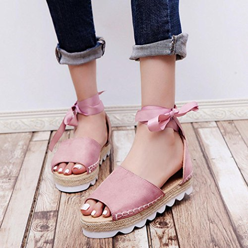 Manadlian Chunky Sandalias Rosa Bohemias Zapatos Talla de para ¡Oferta de Alpargatas con Mujer Zapatos Holiday Mujer de liquidación Cordones Sandalias Verano r6rq5wR