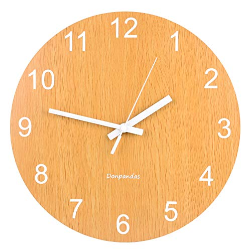 Donpandas 12 Inch Silent Wooden Wall Clocks Battery Operated Non-Ticking Quartz Decorative Wall Clock Simple Vintage Rustic Country Tuscan Style Clocks for Kitchen Living Room Bedroom School Office