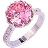 Amethyst Pink Blue White Gemstone Women AAA Silver Ring Size 6 7 8 9 10 11 12 13#by pimchanok shop (10, 885 Pink Topaz)