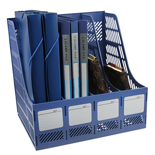 Expanding Catalog Envelopes (Greenery BXT Plastic File Holder Office Desk Organizer Literature Magazine Book Paper Document Folder Tray Desktop File Letter Caddy Supplies Sorter Organiser Frame Rack Storage Cabinet Container, 4-Compartment Slots, Blue)
