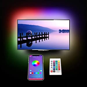 TV Backlight LED Strip Lights,cartaoo 8.10Ft LED Bias Lighting TV Back Home Movie Decor Music Mood Lights Kit with APP/Remote Controlled,Dimmable,16 Colors,USB Powered,5050 RGB Lighting