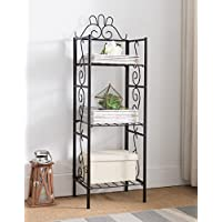 Black Metal 3-tier Free Standing Bakers Rack Dining, Laundry Room Bookcase Bookshelf Planter Stand Garage Organizer