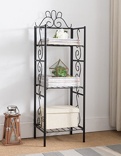 Black Metal 3-tier Free Standing Bakers Rack Dining, Laundry Room Bookcase Bookshelf Planter Stand Garage Organizer by eHomeProducts